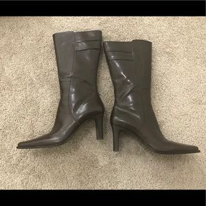 BP. Brown zip Leather High heel boots -Leather 10M